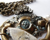 Antique Look Brass Door Knocker Necklace with Charms