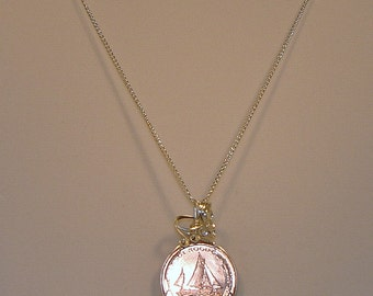 Hand wire wrapped Coin Necklace