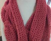 Coral/Scarlett Infinity Scarf, winter fashion, light weight, warm, fashion scarf,