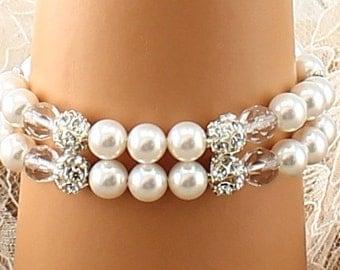 Bridal Bracelet Wedding Bracelet Silver White Pearl Wedding Bracelet Bridal Jewelry Wedding Jewelry Bridal Accessories Style-12