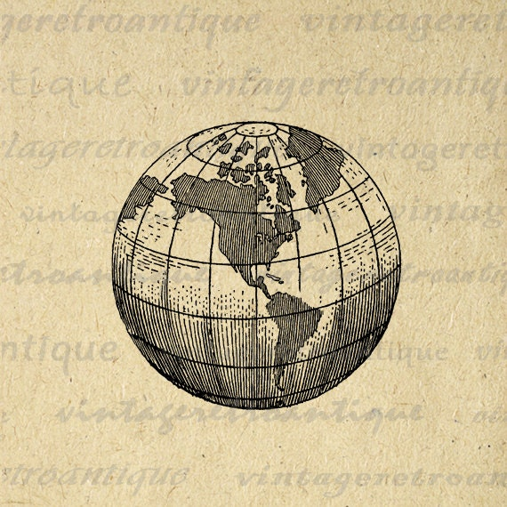 Vintage Globe Line Drawing : Earth globe world map digital image graphic by