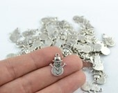 20 Pcs Antique Silver Snowman Charm 15x20mm S0020