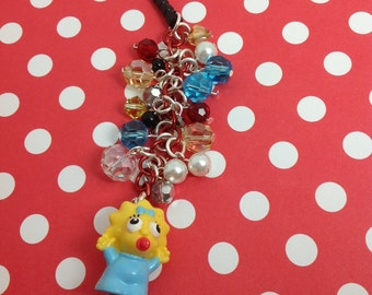 Maggie from the Simpsons cell phone charm, dust plug charm, Kawaii Phone charm, Kawaii Dust Plug, Headphone jack charm, pluggy, earcap