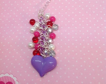 Cute Purple Heart cell phone charm,planner charm, dust plug charm, dust plug, iphone charm, ipad charm,phone accessories