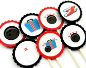 12 Bowling Cupcake Toppers