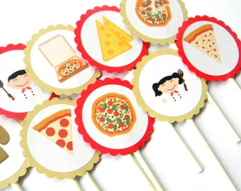 12 Pizza Cupcake Toppers, Pizza Party, Girls Night, Pizza Birthday Toppers, Pizza Chef, Cake Toppers, Pizza Baby Shower
