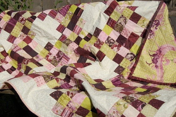 Purple and Green Irish Chain Lap Size Quilt