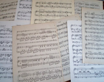 "Vintage Antique Sheet Music Paper 20 Full Size 9""x 12"" Pages"