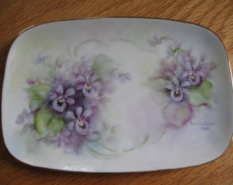 Handpainted Violets on Sweet Little Jewelry Tray