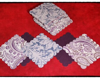 Paper Arts:  Aubergine Paisley and Organic Floral Image Scalloped Tags / Labels (Twenty-two)