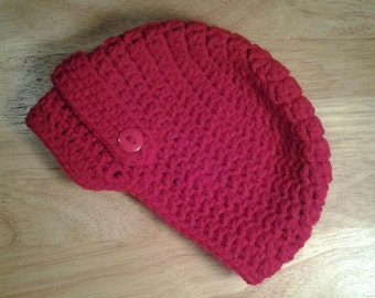 Crochet Baby Newsboy Hat in Cherry Red, Infant 3-6 months (16-17 Inch Size)