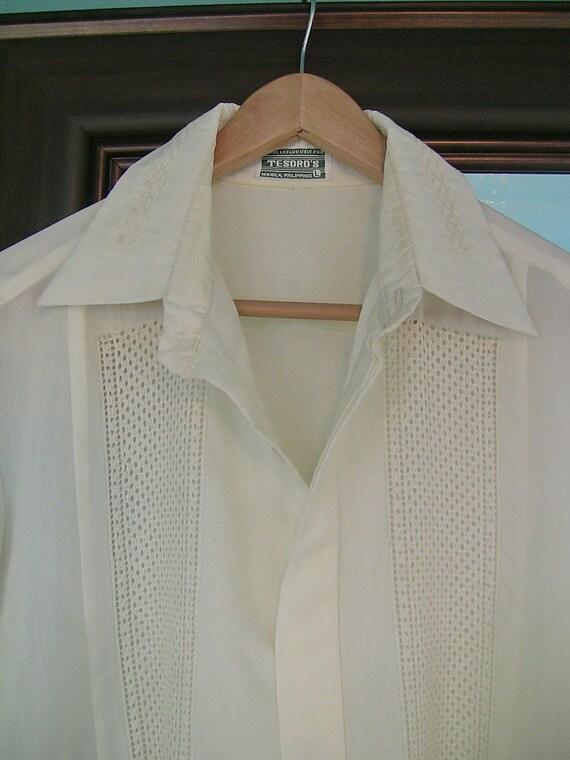 Vintage Embroidered Men's Shirt-Cream/Ivory Dress