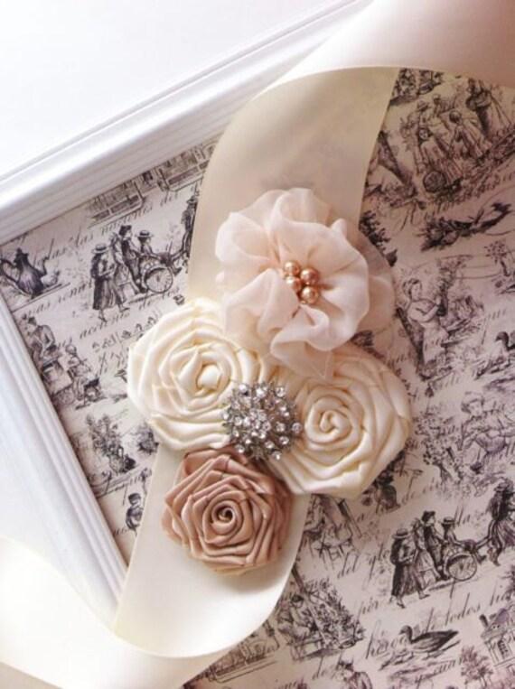 beige/ivory/champagne bridal Vintage lace satin rosette flower roses wedding Sash belt