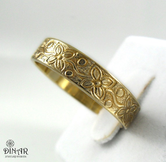 14k gold wedding band ring flower pattern by dinarjewelry