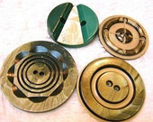 SALE! SHOP CLOSING   -     Four Vintage Celluloid Buttons - Large - Shades of Green - 1930 - 1940 - Art Deco