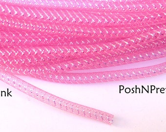 10 yards 3/8 Metallic Tubular Crin - Pink
