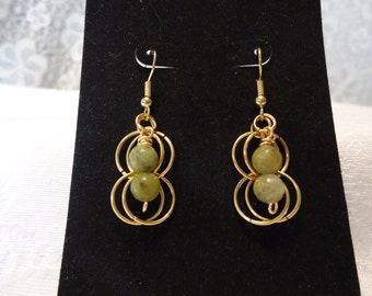 Green Serpentine and Gold Earrings