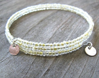 Upcycled Beaded Bangle with Silver Charms, Vintage Glass Beads, Yellow-Ivory, Eco-Friendly Jewelry, Bridal Jewelry, Boho Layering Bracelet