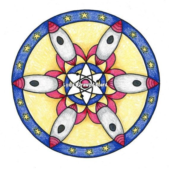 Mandala, Boys Room Decor, Mandala Print, Space Age, Rocket Art, Rocket, Rocket Ship, Rocketship, Mid Century Art, Mid Century Modern Art