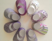 DIY Kit - 6 PAIR (12 shoes) of It's a girl baby booties gift favors ready to be assembled