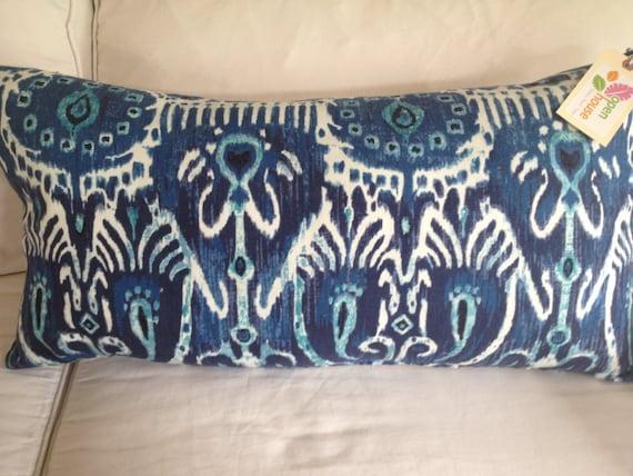 Large Blue Ikat Lumbar Pillow