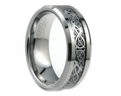 Tungsten Wedding Band,Tungsten Wedding Ring,Beveled Edges,Dragon Inlay,Celtic Knot,Anniversary Ring,His,Hers,Tungsten,8mm