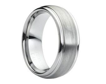 Tungsten Wedding Band,Tungsten Wedding Ring,Anniversary Ring,Engagement Ring,Tungsten Ring,Tungsten Band,Satin Polish,8mm