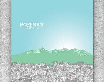 Skyline City Art / Bozeman Montana Skyline / Home Office Art Poster Print / 8x10 Print Any City Available