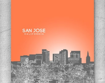 San Jose California Skyline Poster / Anniversary Wall Art Poster / Any City or Landmark