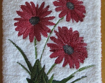 Machine Embroidered Gerber Daisy Towel