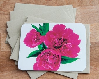 Hot Pink Peony Blank Cards with Envelopes, Gift for her
