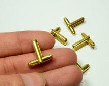 12 Pcs (6 Pairs ) Raw Brass  Mens Cufflink Backs