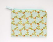 Cosmetic Bag Turquoise Floral, Pale Blue Zipper Pouch, Make Up Bag, Pastel Color Bridesmaid Gift