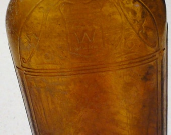 Vintage Amber Glass Hiram Walker & Sons 4/5 Quart Liquor Prohibition Bottle Whiskey Federal Law Prohibits Sale or Reuse of This Bottle