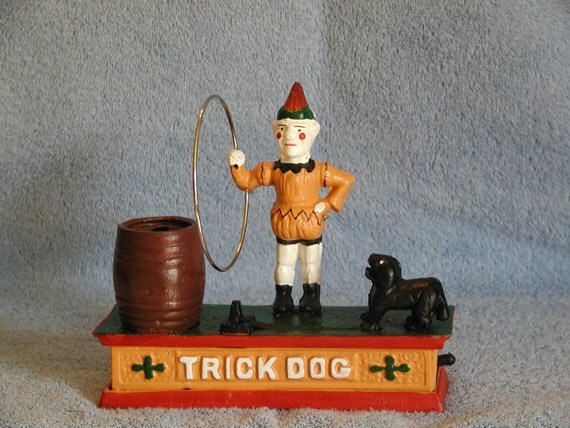 "Cast Iron Mechanical Bank ""Trick Dog"""