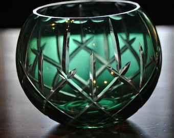 DISCOUNTED - Vintage - BOHEMIAN Rose BOWL Emerald Green Etched Crystal Cut to Clear
