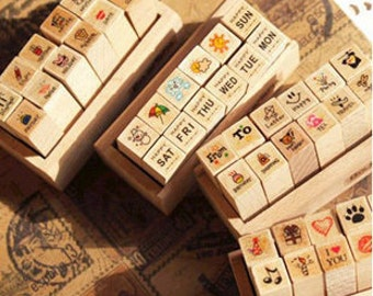 Diary Stamp Set  -- Wooden Rubber Stamp Set -- Korean Stamps - 4 styles can be chosen
