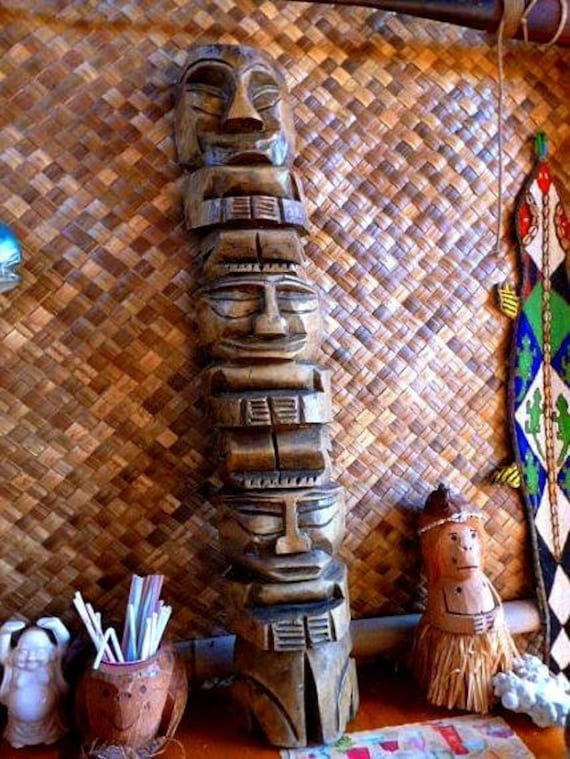 1960s Hand carved wooden tiki totem