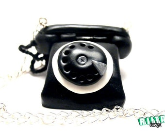 Long necklace retro vintage black telephone polymer clay