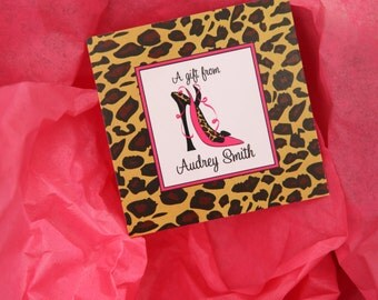 12 Printed Personalized Leopard Shoes gift tags by Swell Printing