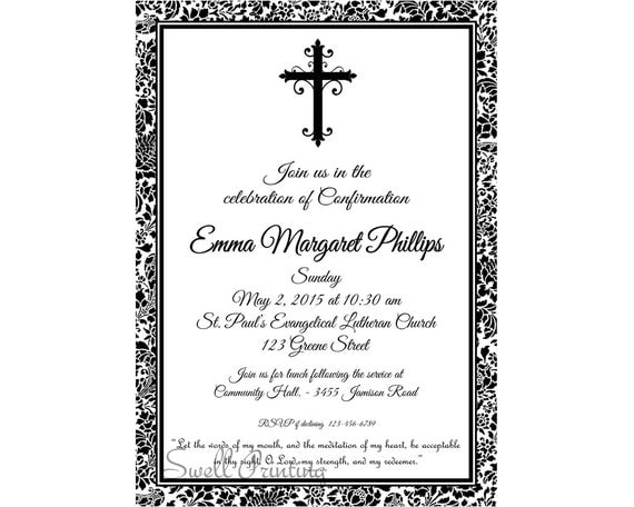 Damask Confirmation Invitation Confirmation Invitation – Confirmation Party Invitations