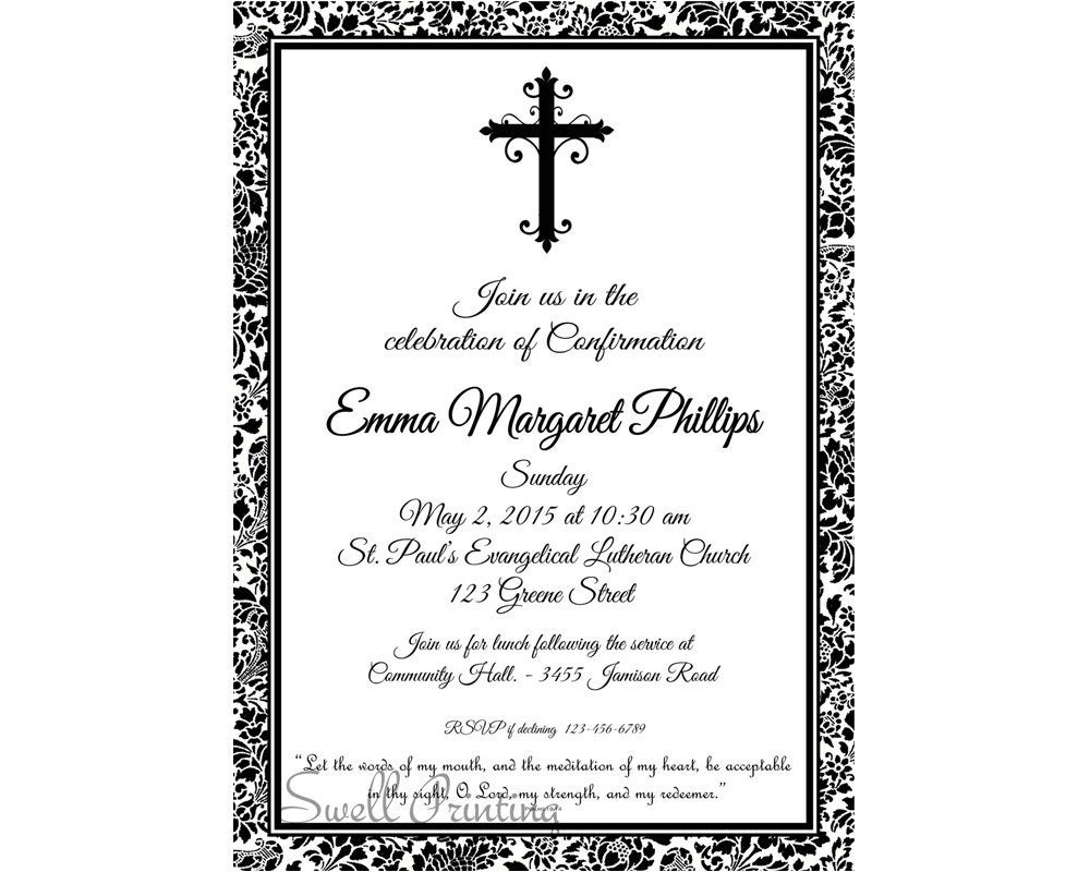 Damask confirmation invitation confirmation invitation for Free printable confirmation invitations template