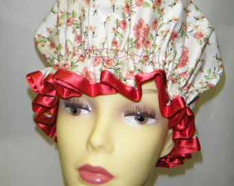 Victorian Style Cream/ Red Flowered Shower Cap