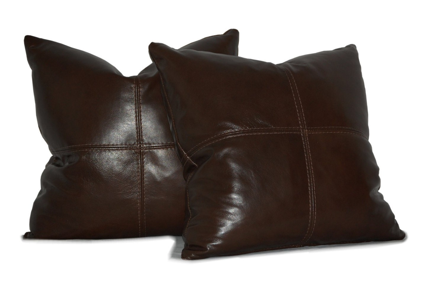 Square Genuine Leather Accent Throw Pillows SET OF 2