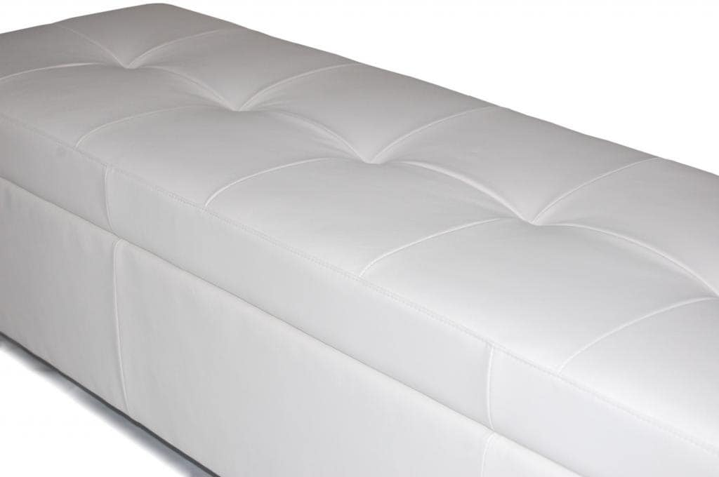 Contemporary   King Size White Genuine Leather Tufted Storage Bench, Chest,  Ottoman