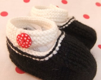 Hand knitted black and cream Mary-Jane baby shoes - 0-3, 3-6 and 6-9 months