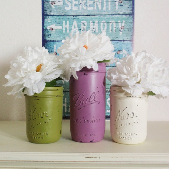3- Hand Painted Pint And Pint & A Half Mason Jar Flower Vases- Mom's Garden Collection-Country Decor-Cottage Chic-Shabby Chic-French Chic