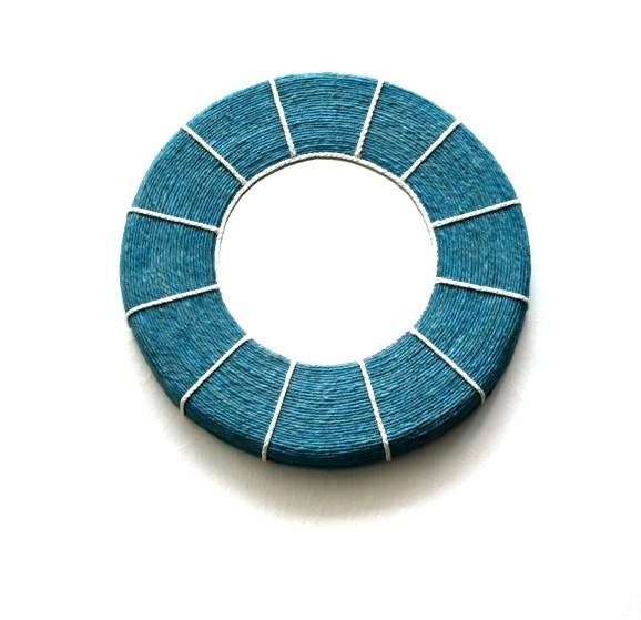 blue hemp rope round wall mirror with white rope by uniquemirrors. Black Bedroom Furniture Sets. Home Design Ideas