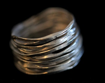 Handmade Hammered Silver Wire ring (R0005)