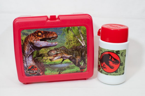 Vintage Jurassic Park Lunch Box and Thermos / Dinosaur Lunch Box / T-Rex / Red